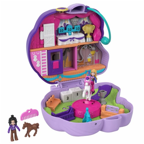 Polly Pocket Jumpin? Style Pony Compact with Horse Show Theme, Micro Polly Doll & Friend Perspective: top