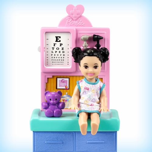 Barbie Pediatrician Playset, Blonde Doll, Exam Table, X-ray & Accessories Perspective: top