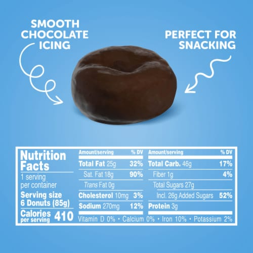 Hostess Single-Serve Chocolate Frosted Mini Donettes 6 Count Perspective: top