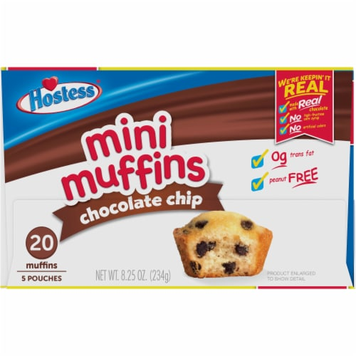 Hostess Chocolate Chip Mini Muffins 20 Count Perspective: top