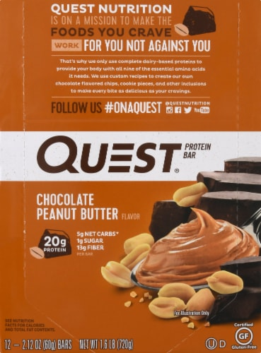 Quest Chocolate Peanut Butter Protein Bars 12 Count Perspective: top
