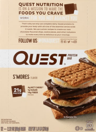 Quest S'mores Protein Bars 12 Count Perspective: top