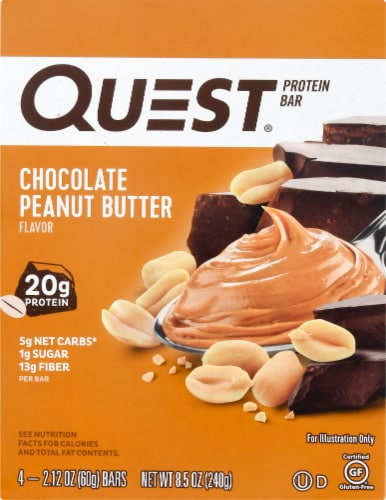 Quest Chocolate Peanut Butter Protein Bar 4 Count Perspective: top