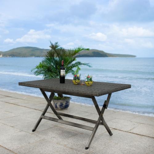 Akita Folding Table Grey Perspective: top