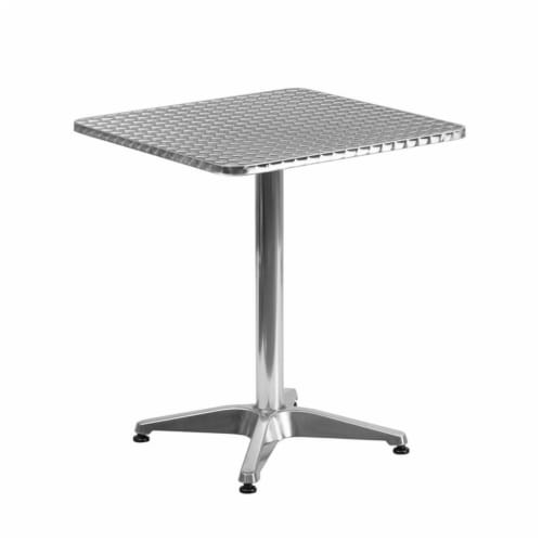23.5'' Square Aluminum Table Set with 2 Dark Brown Rattan Chairs - TLH-ALUM-24SQ-020CHR2-GG Perspective: top