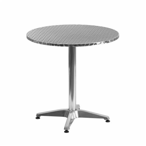 27.5'' Round Aluminum Table Set with 4 Slat Back Chairs - TLH-ALUM-28RD-017BCHR4-GG Perspective: top