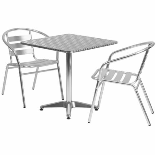 27.5'' Square Aluminum Table Set with 2 Slat Back Chairs - TLH-ALUM-28SQ-017BCHR2-GG Perspective: top