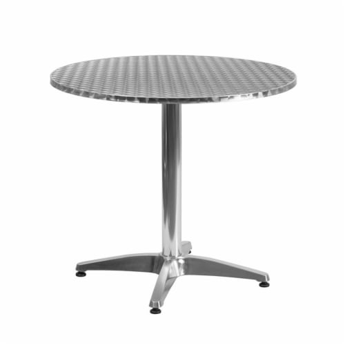 31.5'' Round Aluminum Indoor-Outdoor Table Set with 4 Slat Back Chairs Perspective: top