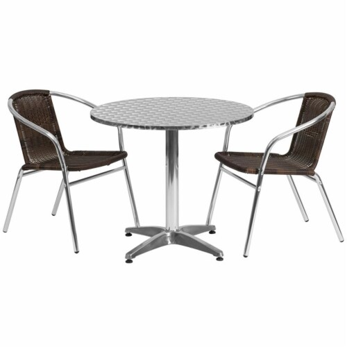 31.5'' Round Aluminum Table Set with 2 Dark Brown Rattan Chairs - TLH-ALUM-32RD-020CHR2-GG Perspective: top
