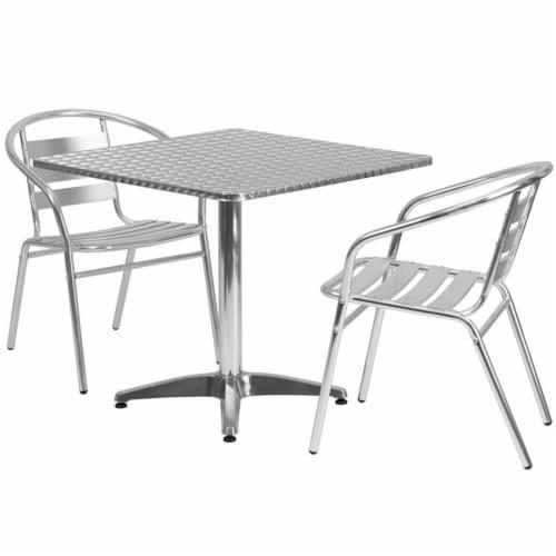 Flash Furniture 3 Piece Square Patio Dining Set in Aluminum Perspective: top