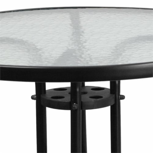 Flash Furniture 31.5  Round Glass Top Patio Dining Table in Black Perspective: top