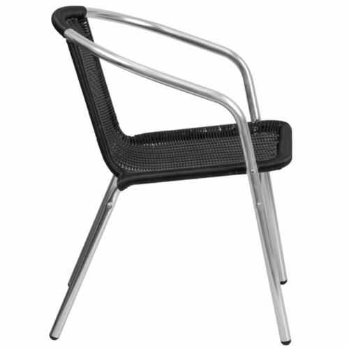 Flash Furniture TLH-020-BK-GG Commercial Aluminum & Black Rattan Indoor & Outdoor Restaurant Perspective: top