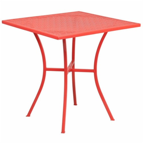 Flash Furniture CO-5-RED-GG 28 in. Square Coral Indoor & Outdoor Steel Patio Table Perspective: top