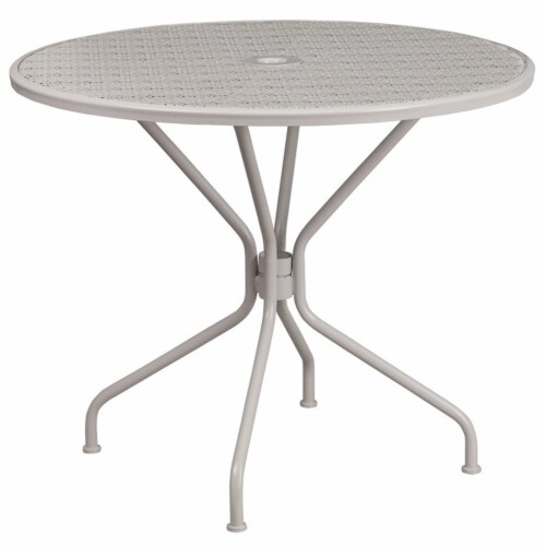 Flash Furniture 35.25  Round Steel Flower Print Patio Dining Table in Silver Perspective: top
