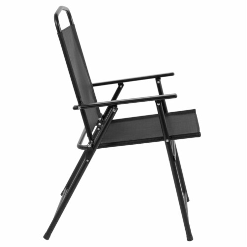 Nantucket 6 Piece Patio Garden Set with Table, Umbrella and 4 Folding Chairs Perspective: top