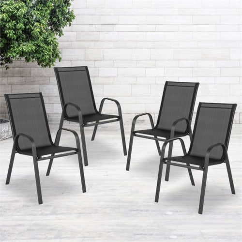 4 Pack Brazos Series Black Outdoor Stack Chair with Flex Comfort Material and Metal Frame Perspective: top