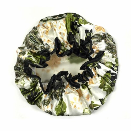 Wrapables Trendy Satin Shower Cap, Paisley Foliage Perspective: top