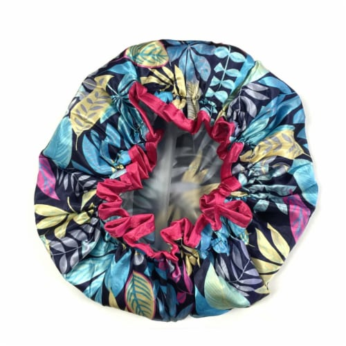 Wrapables Trendy Satin Shower Cap, Twilight Leaves Perspective: top