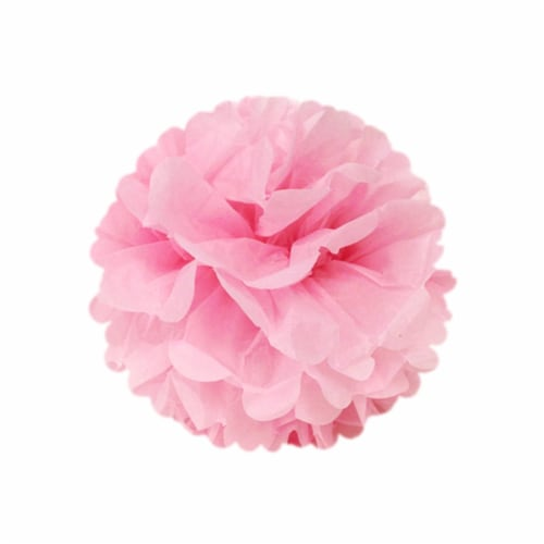 Wrapables Set of 12 Tissue Pom Pom Party Decorations, Pink/Peach/Ivory/Yellow Perspective: top