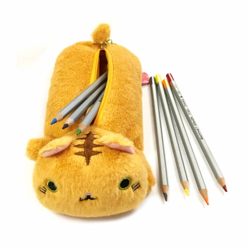 Wrapables Cute Cat Pouch Plush Pencil Case, Tabby Perspective: top