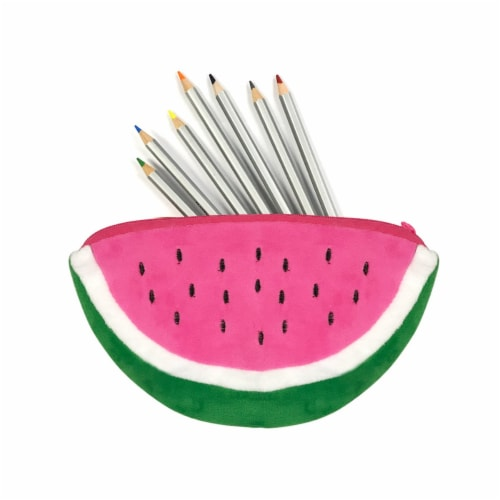 Wrapables Fruity Pencil Case and Pouch (Set of 2), Pink Watermelon Perspective: top