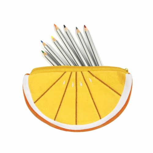Wrapables Fruity Pencil Case and Pouch (Set of 2), Orange Perspective: top