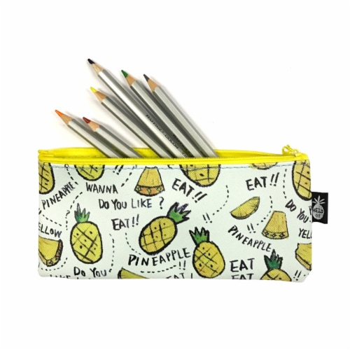 Wrapables Trendy Food Pencil Case and Stationery Pouches (Set of 3), Yellow Perspective: top