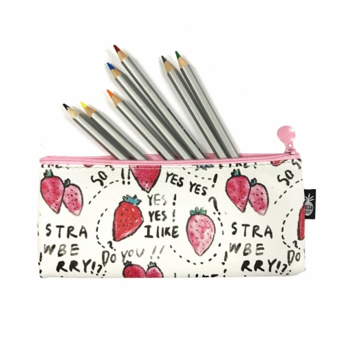 Wrapables Trendy Food Pencil Case and Stationery Pouches (Set of 3), Red Perspective: top