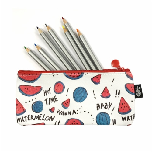 Wrapables Trendy Food Pencil Case and Stationery Pouches (Set of 3), Watermelon Perspective: top