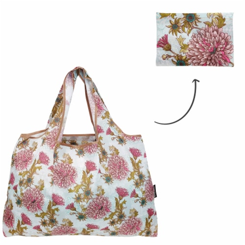 Wrapables Large Nylon Reusable Shopping Bag, Vintage Chrysanthemums Perspective: top