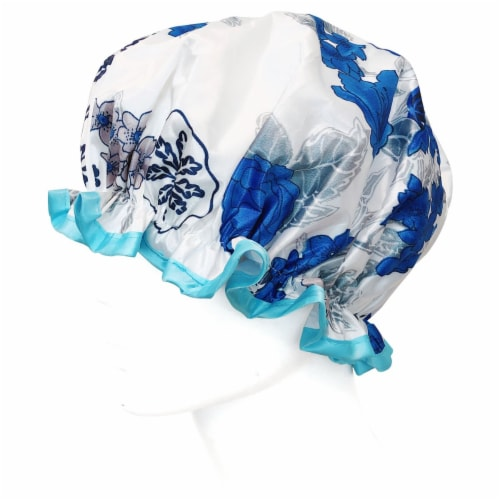 Wrapables Reusable Women's Waterproof Shower Caps for Long Hair, Blue Floral Perspective: top