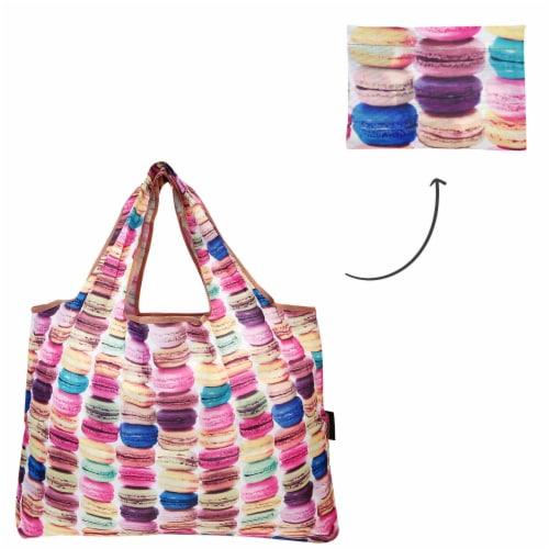 Wrapables Large Nylon Reusable Shopping Bag, Macarons Perspective: top