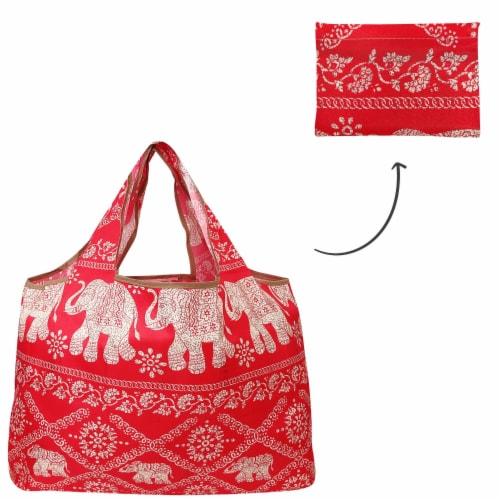 Wrapables Large Nylon Reusable Shopping Bag, Regal Elephants Perspective: top