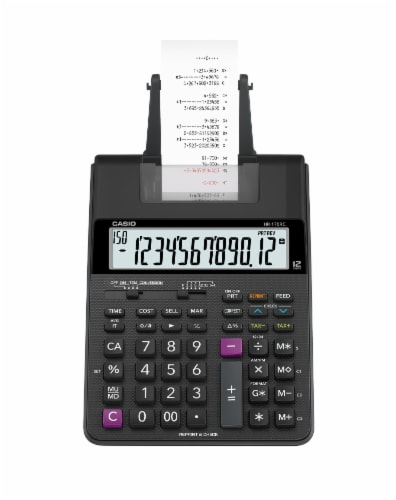 Casio HR-170 Mini Desktop Printing Calculator - Black Perspective: top