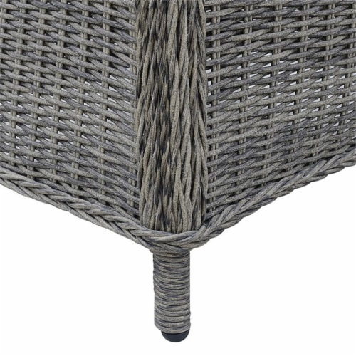 Furniture of America Kender Rattan Patio Dining Arm Chair in Gray (Set of 2) Perspective: top