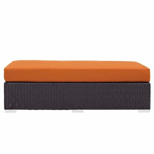 Convene Outdoor Patio Fabric Rectangle Ottoman - Espresso Orange Perspective: top