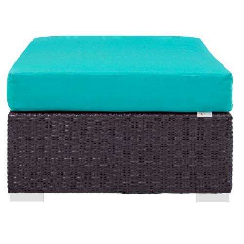 Convene Outdoor Patio Fabric Rectangle Ottoman - Espresso Turquoise Perspective: top