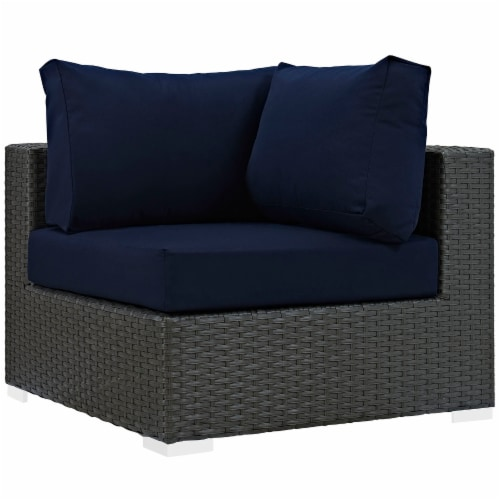 Sojourn 5 Piece Outdoor Patio Sunbrella Sectional Set - Canvas Navy Perspective: top