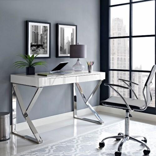 Adjacent Desk - White Perspective: top