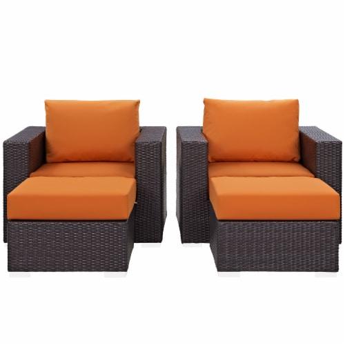 Convene 4 Piece Outdoor Patio Sectional Set - Espresso Orange Perspective: top