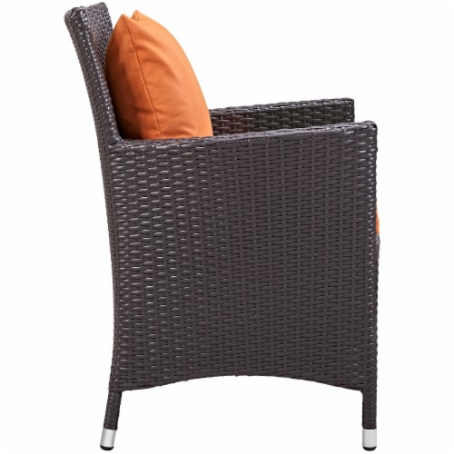 Convene 7 Piece Outdoor Patio Dining Set - Espresso Orange Perspective: top