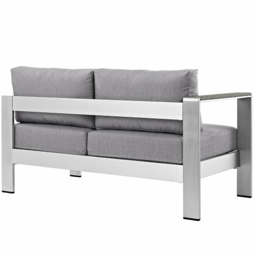 Shore Left-Arm Corner Sectional Outdoor Patio Aluminum Loveseat - Silver Gray Perspective: top