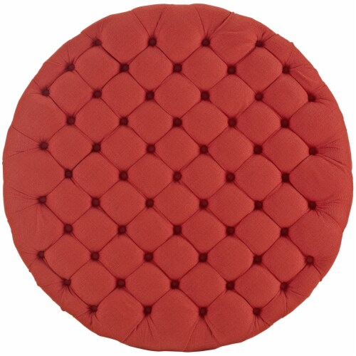 Amour Upholstered Fabric Ottoman, Atomic Red Perspective: top