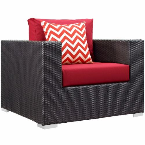 Convene 9 Piece Outdoor Patio Sofa Set - Espresso Red Perspective: top