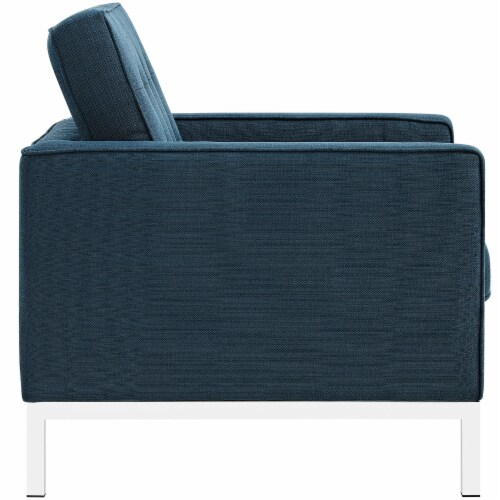 Loft 3 Piece Upholstered Fabric Sofa and Armchair Set - Azure Perspective: top