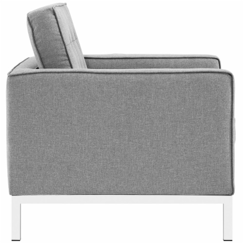 Loft 3 Piece Upholstered Fabric Sofa and Armchair Set - Light Gray Perspective: top