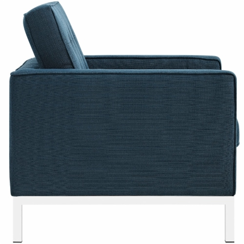 Loft 3 Piece Upholstered Fabric Sofa Loveseat and Armchair Set - Azure Perspective: top