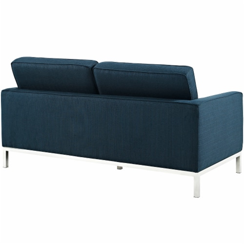 Loft 2 Piece Upholstered Fabric Sofa and Loveseat Set - Azure Perspective: top