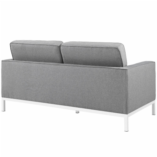 Loft 2 Piece Upholstered Fabric Sofa and Loveseat Set - Light Gray Perspective: top