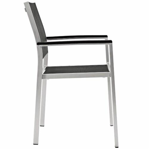 Shore 7 Piece Outdoor Patio Aluminum Dining Set - Silver Black Perspective: top